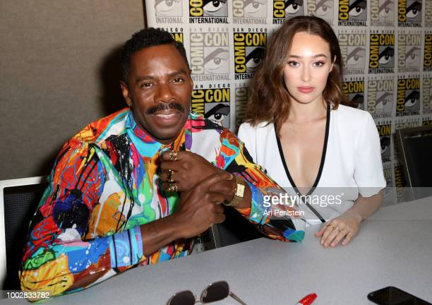 Colman Domingo and Alycia DebnamCarey attend the 'Fear the Walking Dead' autograph signing with AMC during ComicCon International 2018 at San Diego...