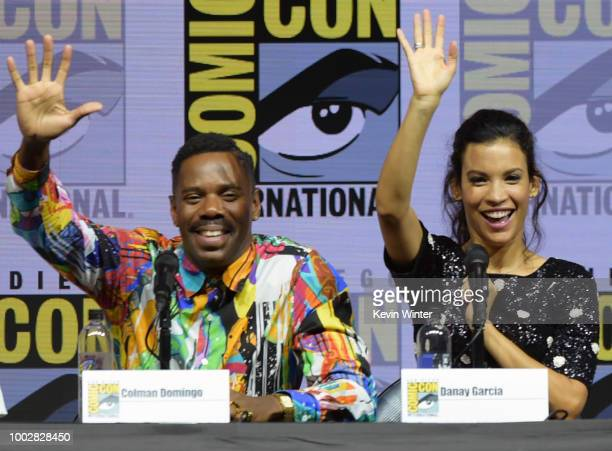 Colman Domingo and Danay Garcia speak onstage at AMC's Fear The Walking Dead panel during ComicCon International 2018 at San Diego Convention Center...