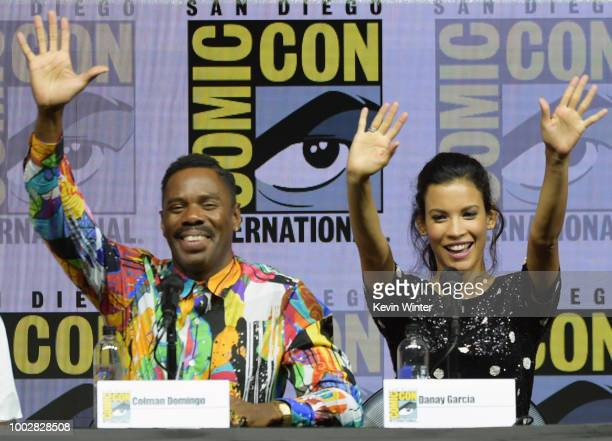Colman Domingo and Danay Garcia speak onstage at AMC's 'Fear The Walking Dead' panel during ComicCon International 2018 at San Diego Convention...