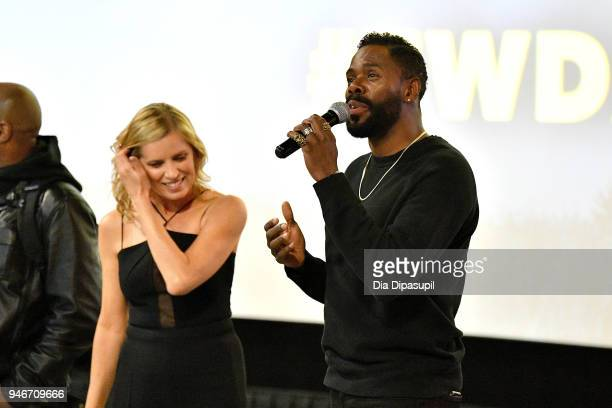 Colman Domingo and Kim Dickens speak at the AMC Survival Sunday The Walking Dead/Fear the Walking Dead at AMC Empire on April 15 2018 in New York City