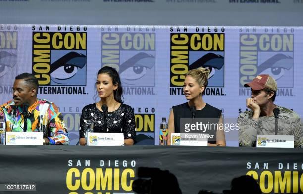 Colman Domingo Danay Garcia Jenna Elfman and Garret Dillahunt speak onstage at AMC's Fear The Walking Dead panel during ComicCon International 2018...