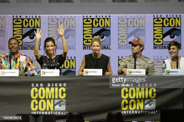 Colman Domingo Danay Garcia Jenna Elfman Garret Dillahunt and Maggie Grace speak onstage at AMC's 'Fear The Walking Dead' panel during ComicCon...