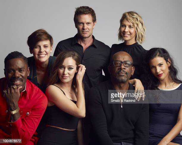 Colman Domingo Maggie Grace Alycia DebnamCarey Garret Dillahunt Lennie James Jenna Elfman and Danay Garcia from AMC's 'Fear the Walking Dead' pose...