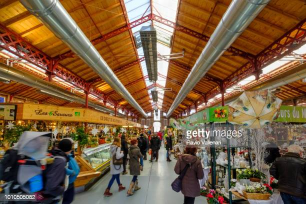 colmar at christmas, marché couvert (alsace, france) - colmar stock photos and pictures
