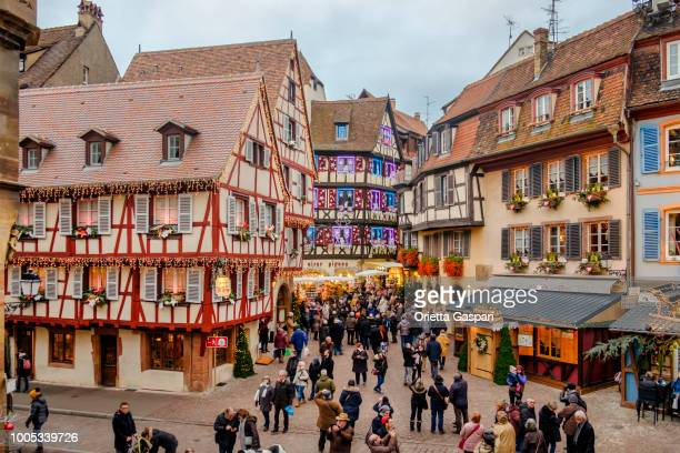 colmar at christmas (alsace, france) - colmar stock photos and pictures