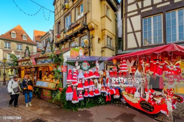 colmar at christmas, place dominicans (alsace, france) - colmar stock photos and pictures