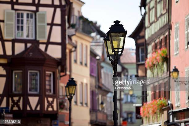 Colmar France half-timbered houses with street lamps