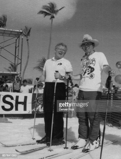 Colo Gov Roy Romers and former Olympic skier Billy Kidd at the base of Mt Ski U in Miami Fla Sunday Colorado Ski Country built the 30foot hill of...