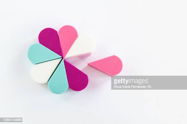 coloful silicone makeup remover sponges on white background. - removing stock pictures, royalty-free photos & images