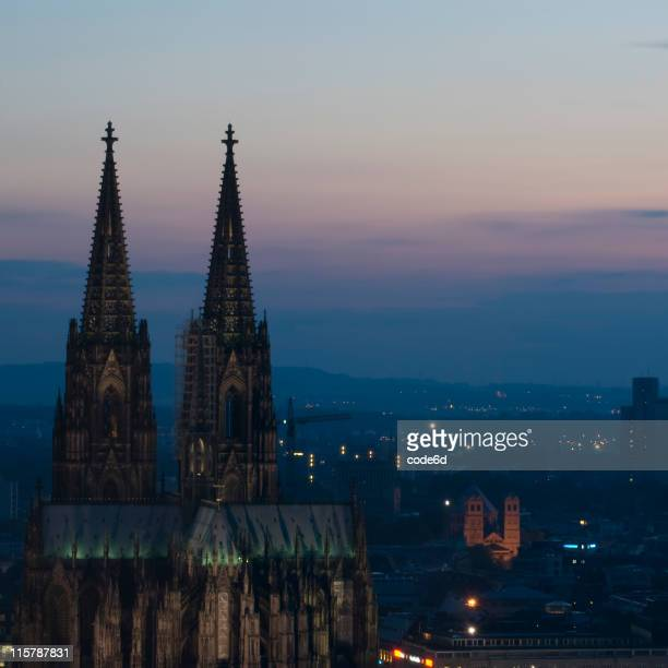 Cologne at night, copy space, skyline, sunset sky