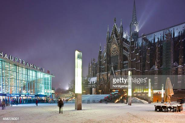Cologne Cathedral and central railway station in winter time