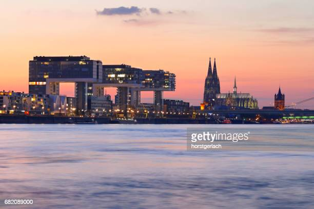 Cologne Cathedral and Rheinau Harbor (Rheinauhafen) at night