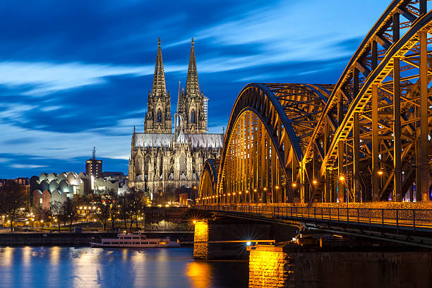 cologne cathedral at night, germany - germany stock pictures, royalty-free photos & images
