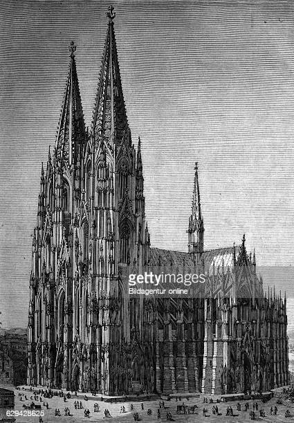 Cologne cathedral, cologne, north rhine-westphalia, germany, historical illustration, about 1886