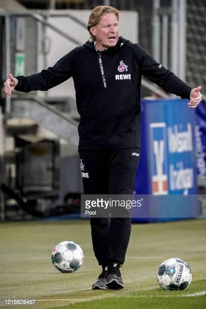 Cologne Head Coach Markus Gisdol reacts during the Bundesliga match between TSG 1899 Hoffenheim and 1 FC Koeln at PreZeroArena on May 27 2020 in...
