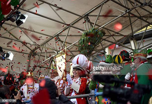 Cologne Mayor Henriette Reker celebrates with members of the Committee during Weiberfastnacht celebrations as part of the carnival season on February...