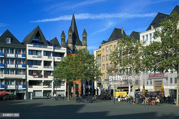 Cologne North RhineWestphalia NRW old city Heumarkt residential buildings Romanesque Great St Martin church