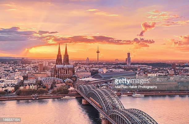 cologne sunset from above - cologne stock pictures, royalty-free photos & images