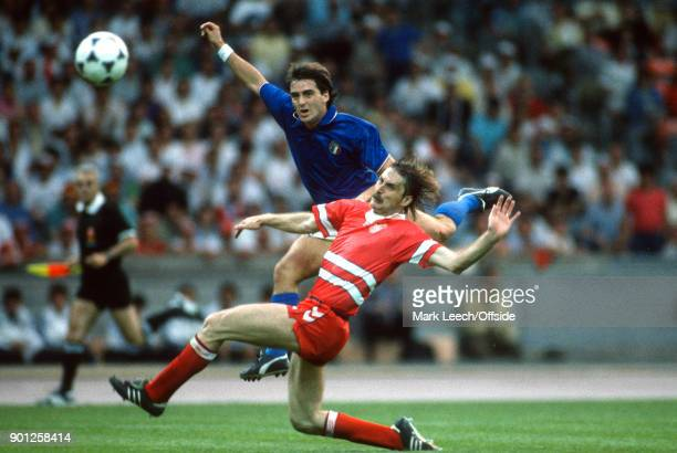 European Championships - Italy v Denmark - Ivan Nielsen attempts to block a shot from Roberto Mancini of Italy .