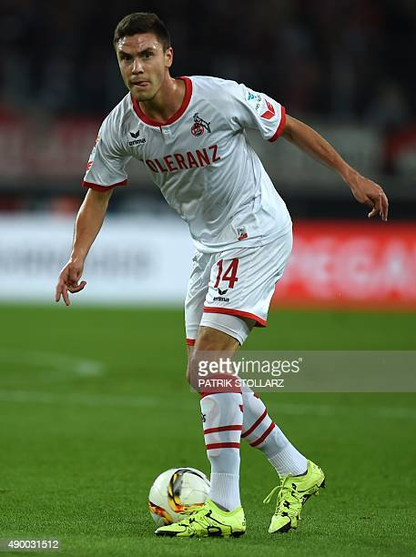 Cologne's defender Jonas Hector plays the ball during the German first division Bundesliga football match FC Cologne vs FC Ingolstadt 04 in Cologne,...