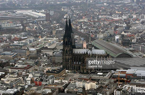 Cologne's Dome stands in the aerial view on March 6 2009 in Cologne Germany