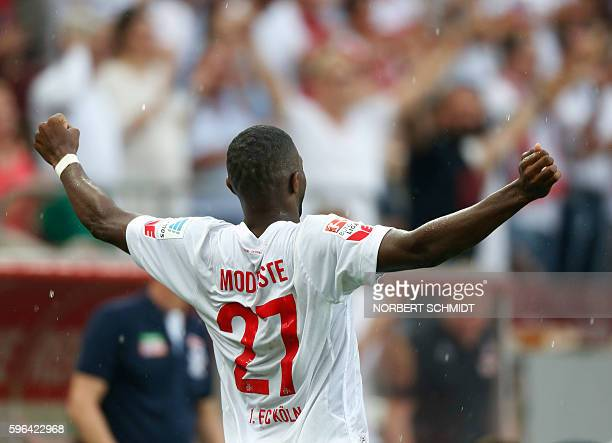 Cologne's French forward Anthony Modeste celebrates after scoring 1-0 during the German first division Bundesliga football match of FC Cologne vs SV...