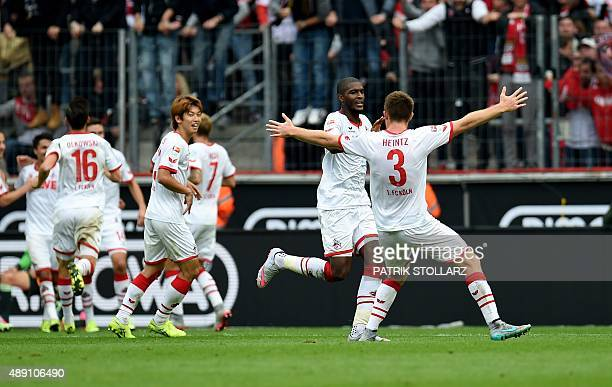 Cologne's French forward Anthony Modeste celebrates scoring during the German first division Bundesliga football match 1 FC Cologne vs Borussia...