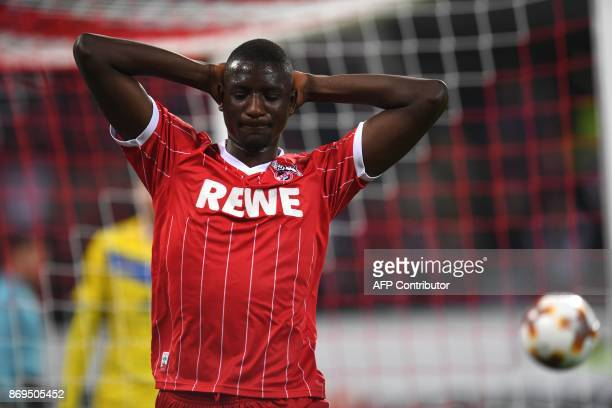 Cologne's French forward Sehrou Guirassy reacts during the UEFA Europa League football match between FC BATE Borisov and FC Cologne on November 2...