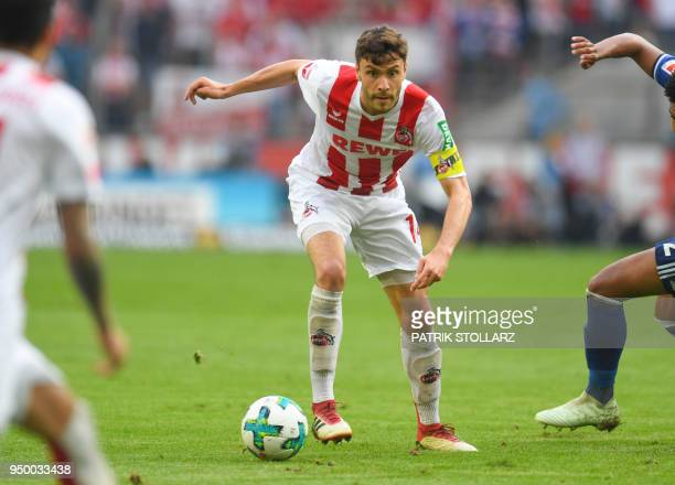 Cologne's German defender Jonas Hector plays the ball during the German first division Bundesliga football match FC Cologne vs Schalke 04 in Cologne...