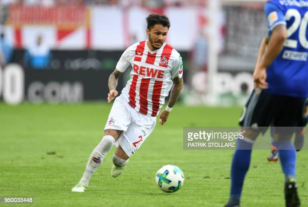 Cologne's German midfielder Leonardo Bittencourt plays with the ball during the German first division Bundesliga football match FC Cologne vs Schalke...