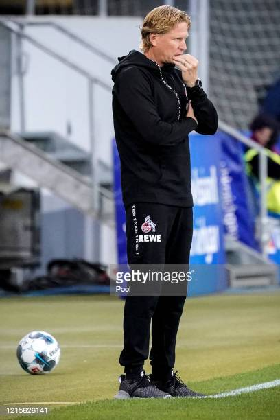 Cologne's head coach Markus Gisdol reacts during the Bundesliga match between TSG 1899 Hoffenheim and 1 FC Koeln at PreZeroArena on May 27 2020 in...