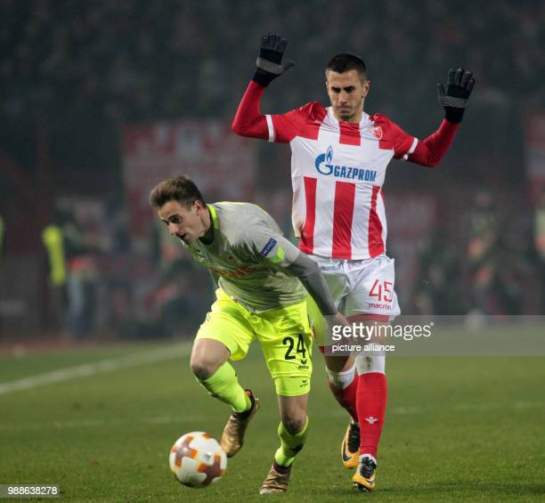 Cologne's Lukas Klünter and Belgrade's Aleksandar Pesic in action during the Europa League group H soccer match between Red Star Belgrade and 1...