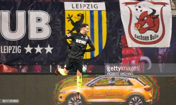 Cologne´s midfielder Leonardo Bittencourt celebrates scoring during the German first division Bundesliga football match RB Leipzig vs FC Cologne in...