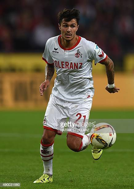 Cologne's midfielder Leonardo Bittencourt plays the ball during the German first division Bundesliga football match FC Cologne vs FC Ingolstadt 04 in...