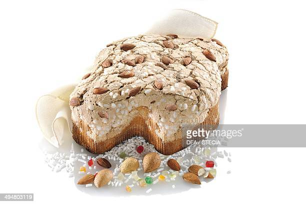 Colomba , Easter cake with almonds and covered with sugar icing.