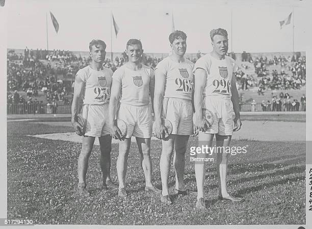 American contestants in final of discus Left to right House winner Lieb third Pope fourth and Hartranft sixth