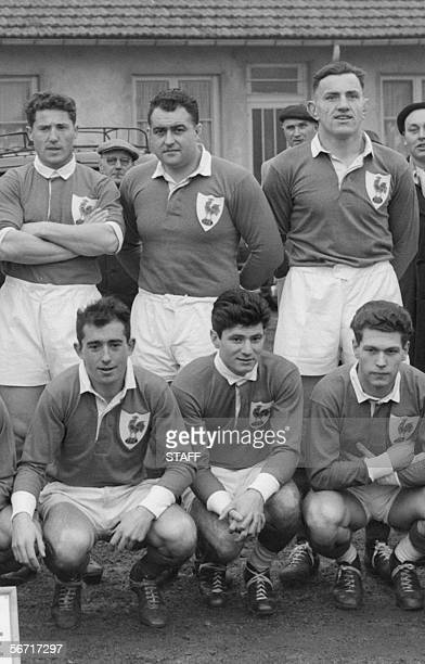 An official picture taken 26 January 1952 in Colombes before the rugby match France vs Ireland shows former France rugby captain Guy Basquet...
