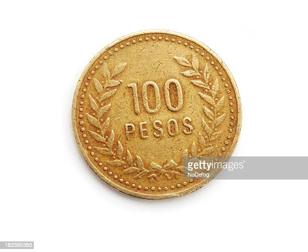 Colombia 100 Peso coin with laurel wreath