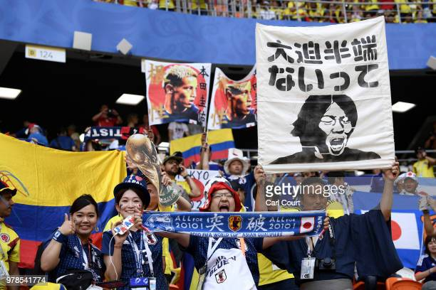 Colombia and Japan fans enjoy the pre match atmosphere prior to the 2018 FIFA World Cup Russia group H match between Colombia and Japan at Mordovia...