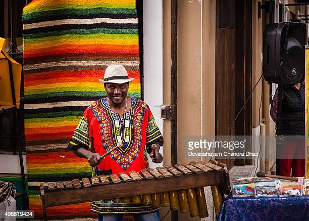colombia - black marimba player on plaza usaquén. - percussion mallet stock pictures, royalty-free photos & images