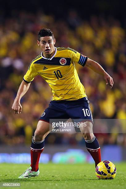 Colombia Captain James Rodriguez in action during the International Friendly between the USA and Colombia at Craven Cottage on November 14 2014 in...