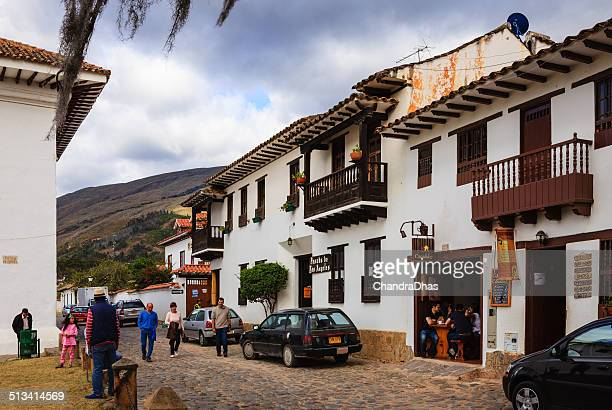 colombia-carrera 10 en la villa de leyva - villa de leyva fotografías e imágenes de stock