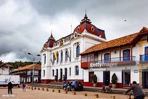 colombia - colonial zipaquira town hall on main square - cundinamarca stock pictures, royalty-free photos & images