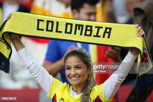 Colombia fan enjoys the pre match atmosphere prior to the 2018 FIFA World Cup Russia Round of 16 match between Colombia and England at Spartak...