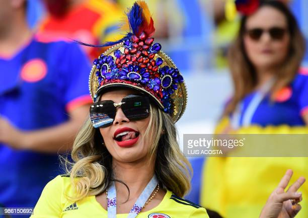 Colombia fan poses before the Russia 2018 World Cup Group H football match between Senegal and Colombia at the Samara Arena in Samara on June 28 2018...