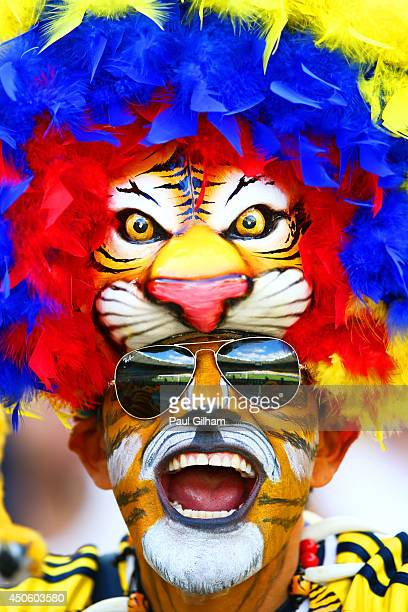 Colombia fan shows support prior to the 2014 FIFA World Cup Brazil Group C match between Colombia and Greece at Estadio Mineirao on June 14 2014 in...