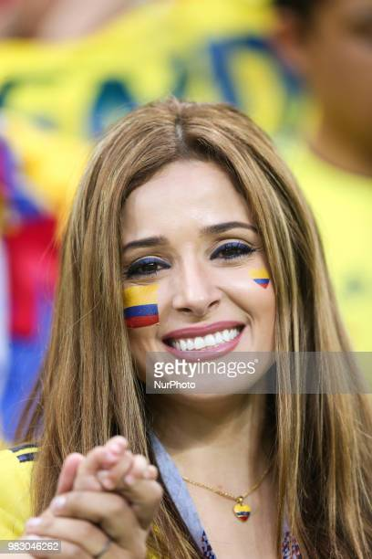 A Colombia fan smiles during the Russia 2018 World Cup Group H football match between Poland and Colombia at the Kazan Arena in Kazan on June 24 2018...