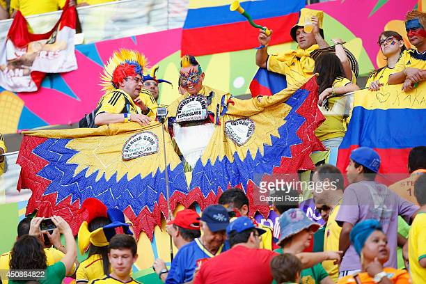 Colombia fans enjoy the atmosphere prior to the 2014 FIFA World Cup Brazil Group C match between Colombia and Cote D'Ivoire at Estadio Nacional on...