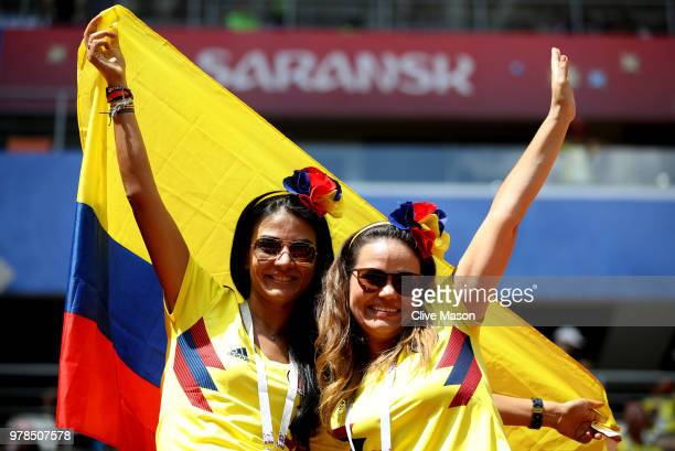 Colombia fans enjoy the pre match atmosphere prior to the 2018 FIFA World Cup Russia group H match between Colombia and Japan at Mordovia Arena on...