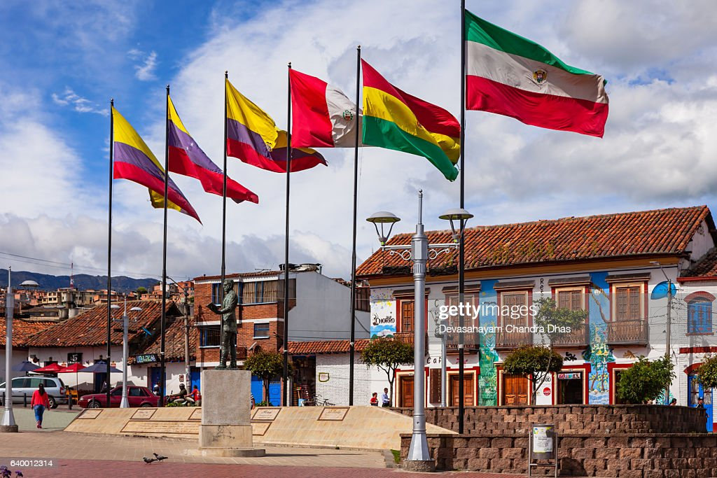 Colombia Flags On Independence Square In Zipaquirá Stock